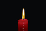 Candle Lit Digital Art Prints - Red advent candle - december 1st Print by Jakob Jensen