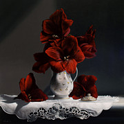 Oil Painting Posters - Red Amaryllis  Poster by Larry Preston