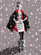 Snow Scene Paintings - Red and Black Cape in the Snow Fashion Illustration Art Print by Beverly Brown Prints