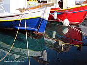 Hydra - Red and Blue Boats by Alexandros Daskalakis