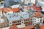 Metal Roofs Posters - Red and blue  city roofs Poster by Aleksandr Volkov