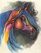Horse Drawings - Red And Blue Horse 28 10 2013 by Angel  Tarantella