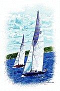 Sailboats Drawings - Red and Blue Sailboats by Judy Skaltsounis