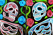 Human Skeleton Paintings - Red and Blue Skulls and Roses by Laura Barbosa