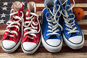 Folk Art American Flag Photos - Red and blue tennis shoes by Garry Gay