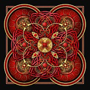 Celtic Spiral Posters - Red and Gold Celtic Cross Poster by Richard Barnes