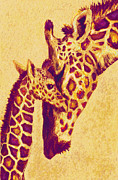 Family Love Digital Art - Red And Gold Giraffes by Jane Schnetlage