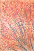 Red Leaves Pastels - Red and golden tree I love thee by Sylvia Masri
