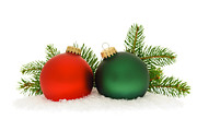 Seasonal Cards Prints - Red and green Christmas baubles Print by Elena Elisseeva