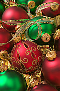 Ribbon Posters - Red and green Christmas ornaments Poster by Garry Gay