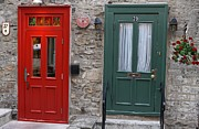 Champlain Framed Prints - Red and Green Doors of Quebec Framed Print by Juergen Roth