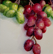Depicting Paintings - Red and Green Grapes by Phyllis Utter