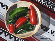 Hot Peppers Painting Originals - Red and Green Peppers by Laura Forde