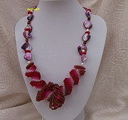 Red Beads Jewelry - Red And Pink Dutch Spiral With Coral Pearl And Shell Beads by Nurit Schlomi von-strauss