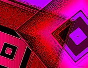 Shape Digital Art - Red and Pink in Abstract Art by Mario  Perez