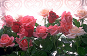 Dew Prints - Red and pink roses in window Print by Garry Gay