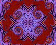Red Paintings - Red And Purple Art Deco by Suzeee Creates