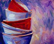 Cellphone Painting Posters - Red And Purple Bowls Poster by Samantha Black