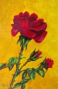 Floral Painting Metal Prints - Red And Small Metal Print by Zulfiya Stromberg