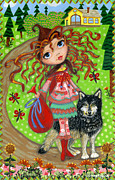 Red Riding Hood Paintings - Red and the Wolf by Jacquelin Vanderwood