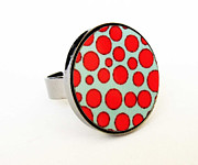 Funky Jewelry Originals - Red and Turquoise Dots Ring by Rony Bank