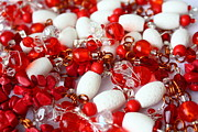 Red Jewelry Acrylic Prints - Red and white beads mix Acrylic Print by Luciana Raducanu
