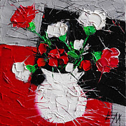 Abstract Composition Paintings - Red And White Carnations by EMONA Art