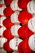 Good Luck Metal Prints - Red And White Chinese Lanterns With Metal Print by Blake Kent