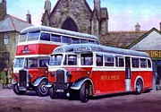 Bus Paintings - Red and White by Mike  Jeffries