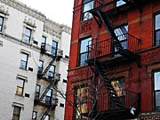 Fire Escapes Posters - Red and White New York Poster by Sarah Loft