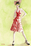 Retro Paintings - Red and White Striped Dress Fashion Illustration Art Print by Beverly Brown Prints