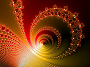 Spirals Posters - Red and yellow abstract fractal Poster by Matthias Hauser