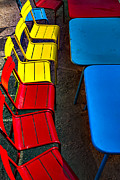 Tables Framed Prints - Red and yellow chairs Framed Print by Garry Gay