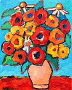 Textures And Colors Painting Prints - Red And Yellow Poppies And Some Daisies Print by Ana Maria Edulescu