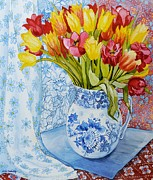 Pink Tulip Posters - Red and yellow tulips in a Copeland jug Poster by Joan Thewsey