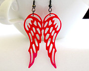 Wings Jewelry - Red Angel Wings Earrings by Rony Bank
