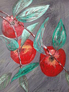 Food Drawings - Red apple by Linda Guerette