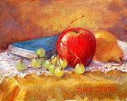 Printed Pastels Prints - Red Apple Print by Nancy Stutes