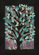 Apple Tree Drawings Metal Prints - Red Apple Tree Metal Print by Barbara St Jean