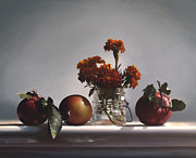 Larry Preston Posters - RED APPLES and MARIGOLDS Poster by Larry Preston