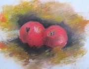 Apple Art Pastels Posters - Red Apples Poster by Melinda Saminski