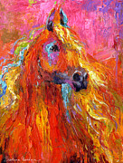Equine Art Drawings Framed Prints - Red Arabian Horse Impressionistic painting Framed Print by Svetlana Novikova