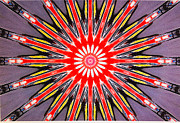 Symmetrical Design Prints - Red Arrow Abstract Print by Barbara Snyder