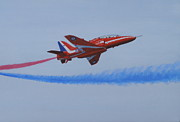 Jets Paintings - Red Arrow - Breaking Right by Elaine Jones