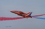 Jets Paintings - Red Arrow - One of a Pair by Elaine Jones