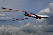 Boeing 747 Metal Prints - Red Arrows and Lady Penelope Metal Print by Mark Rogan