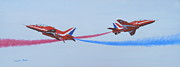 Raf Painting Framed Prints - Red Arrows at Crowd Centre Framed Print by Elaine Jones