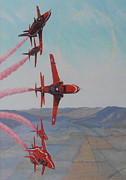 Jets Paintings - Red Arrows by Elaine Jones
