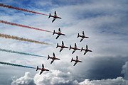 Planes Framed Prints - Red Arrows in Typhoon Formation Framed Print by Mark Rogan