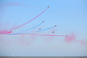 Lowestoft Metal Prints - Red Arrows over the sea Metal Print by Paul Cowan